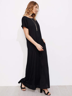 Contrast Bow Panel Open Back Full Length Dress - Dresses - Zooomberg - Zoomberg