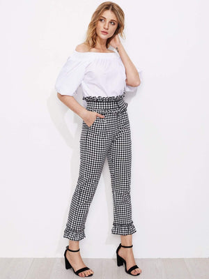 Gingham Frill Trim Pants - Pants - Zooomberg - Zoomberg