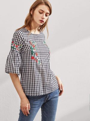 Symmetric Flower Embroidered Fluted Sleeve Top - Tops - Zooomberg - Zoomberg