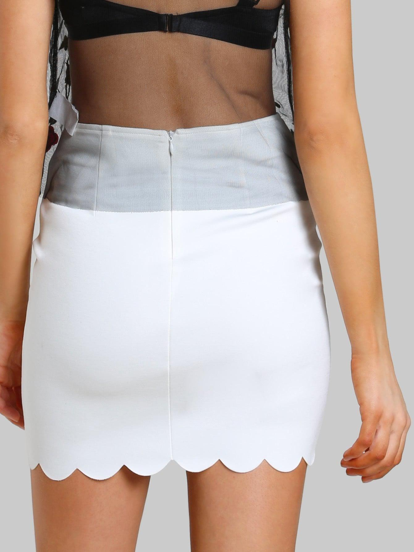 Scallop Edge Form Fitting Skirt - Skirts - Zooomberg - Zoomberg