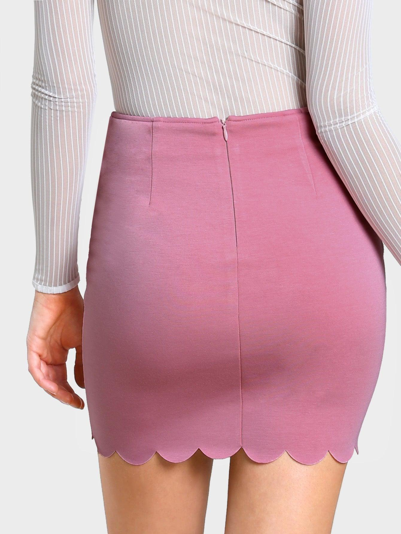 Scallop Edge Form Fitting Skirt - zooomberg