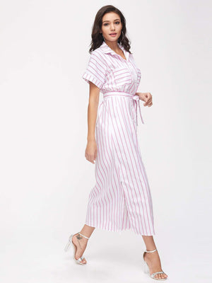 Stripe Split Side Belt Shirt Dress With Chest Pocket - Dresses - Zooomberg - Zoomberg