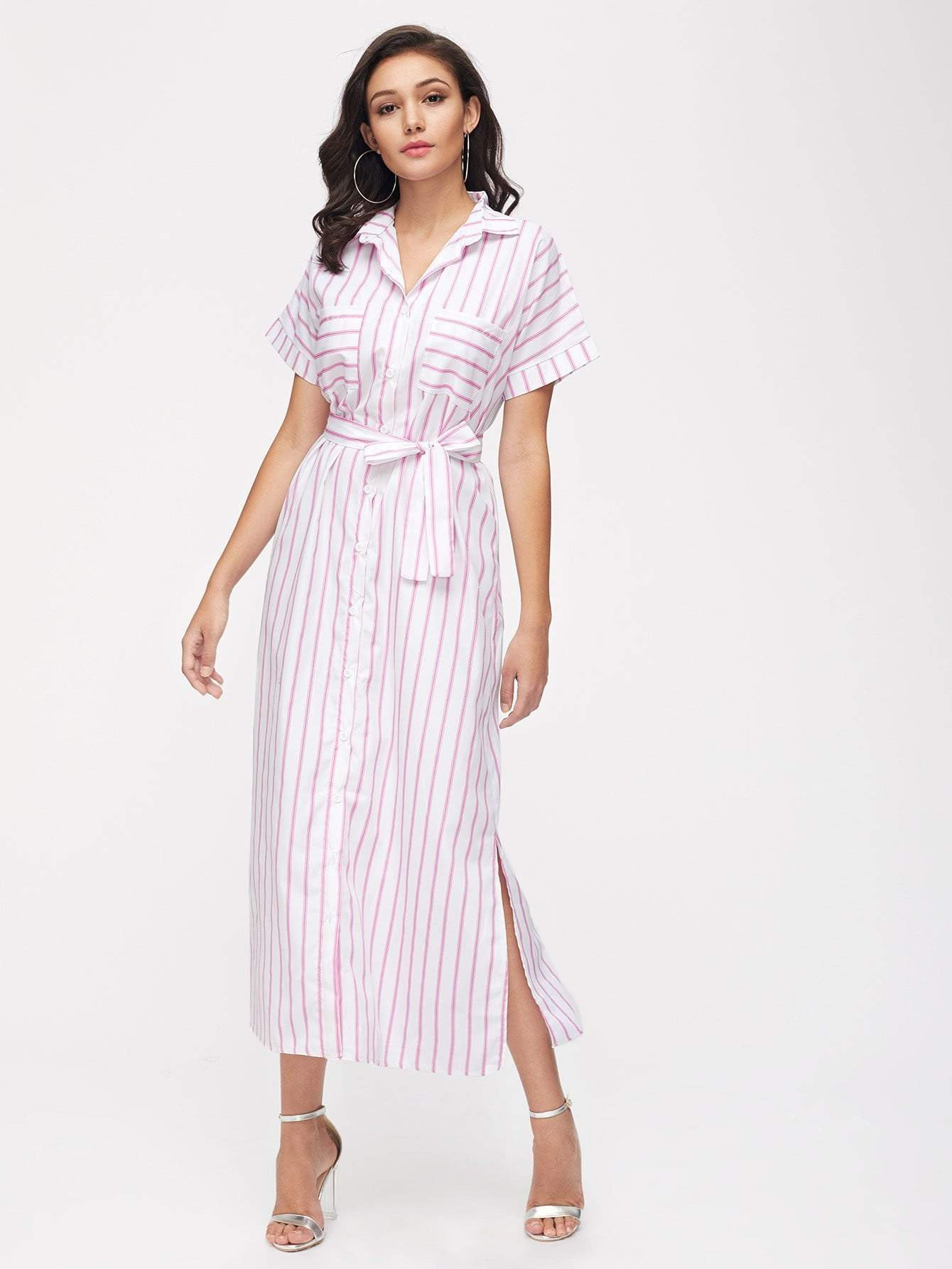 Stripe Split Side Belt Shirt Dress With Chest Pocket - zooomberg