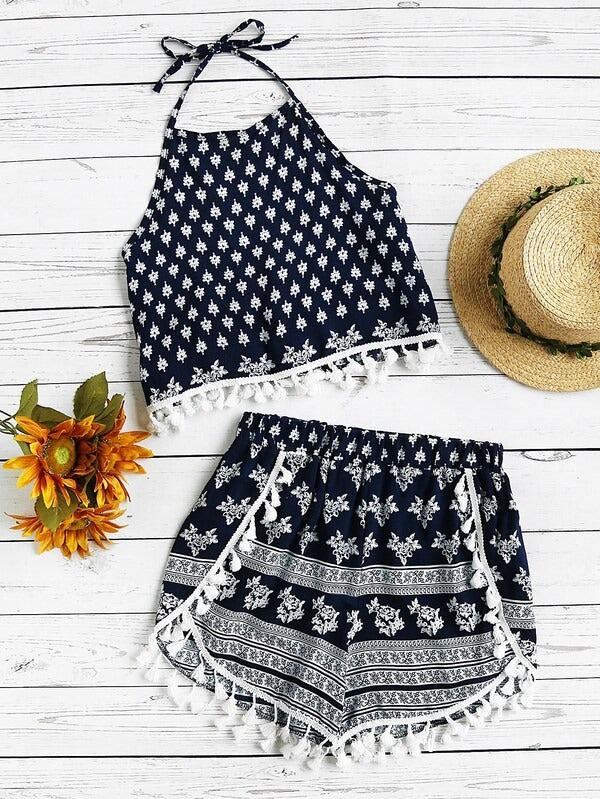 Halter Neck Printed Random Tassel Trim Top With Shorts - zooomberg