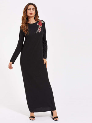 Flower Patch Full Length Tee Dress - Dresses - Zooomberg - Zoomberg