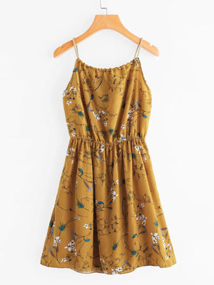 Braided Bead Strap Tie Floral Print Random Dress - Dresses - Zooomberg - Zoomberg