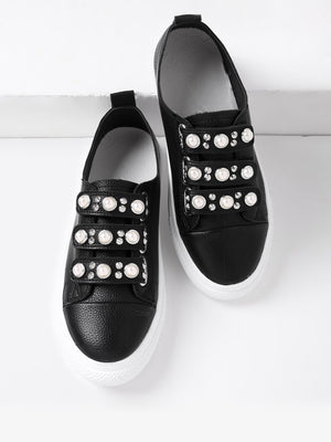 Get Faux Pearl & Studded Detail PU Shoes with RS. 749.00