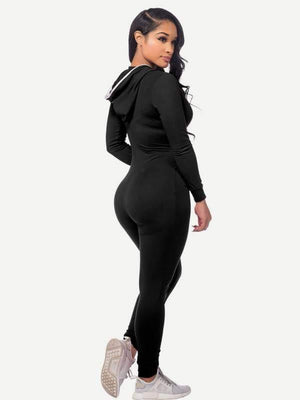 Zipper Up Hooded Catsuit