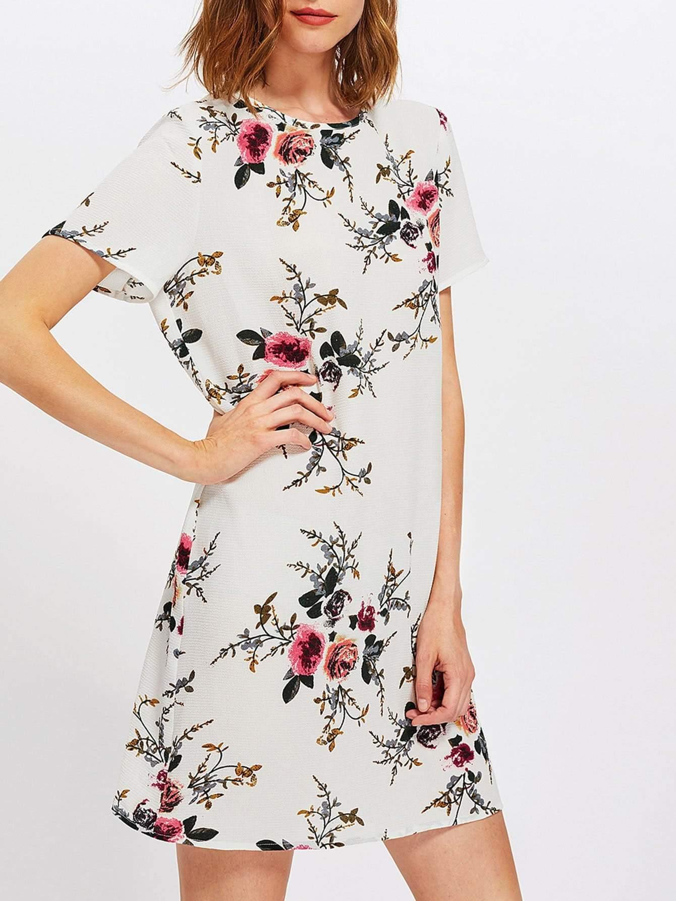 Buttoned Keyhole Back Floral Dress - zooomberg