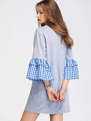 Contrast Gingham Flute Sleeve Marled Tee Dress - Dresses - Zooomberg - Zoomberg
