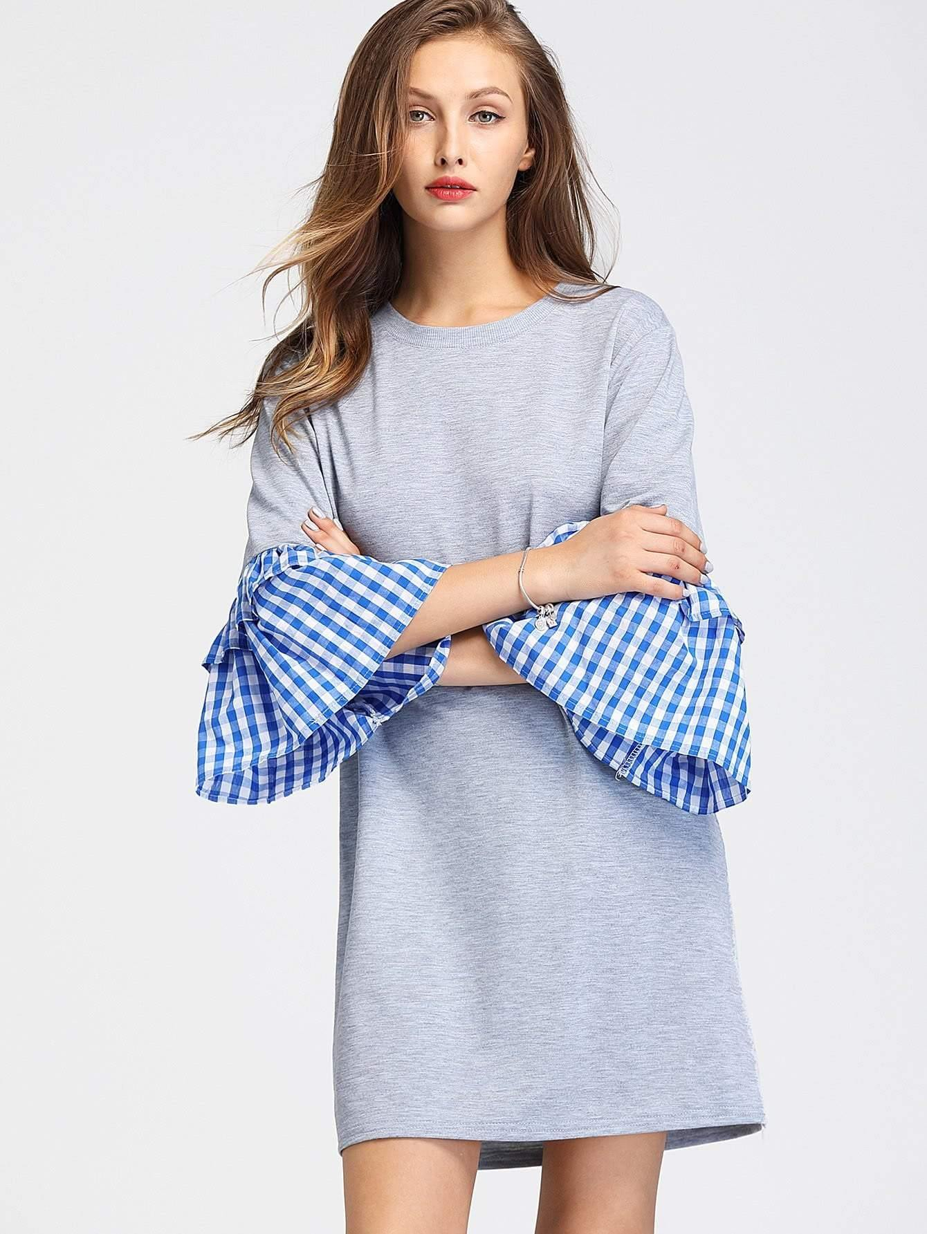 Contrast Gingham Flute Sleeve Marled Tee Dress - zooomberg