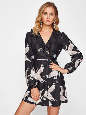 Frill Trim Surplice Wrap Dress - Dresses - Zooomberg - Zoomberg