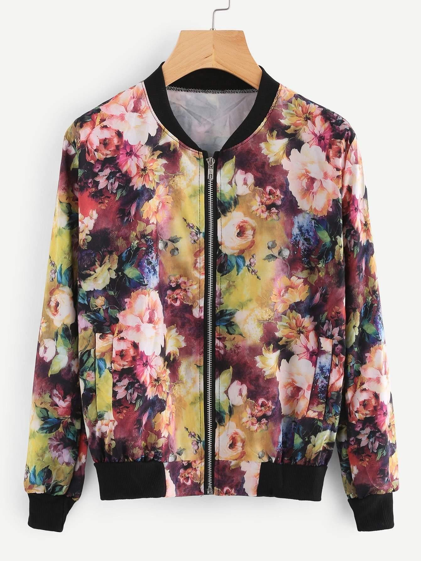 Contrast Ribbed Trim Florals Jacket - zooomberg