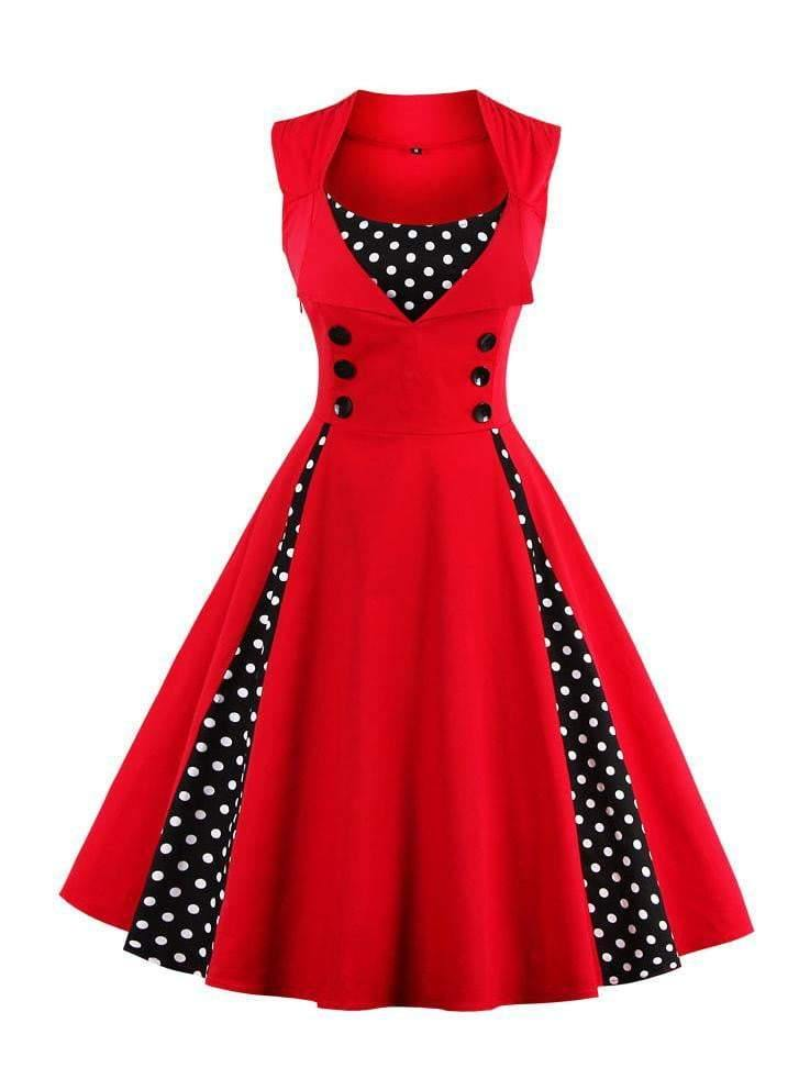 Contrast Polka Dot Flare Dress - zooomberg