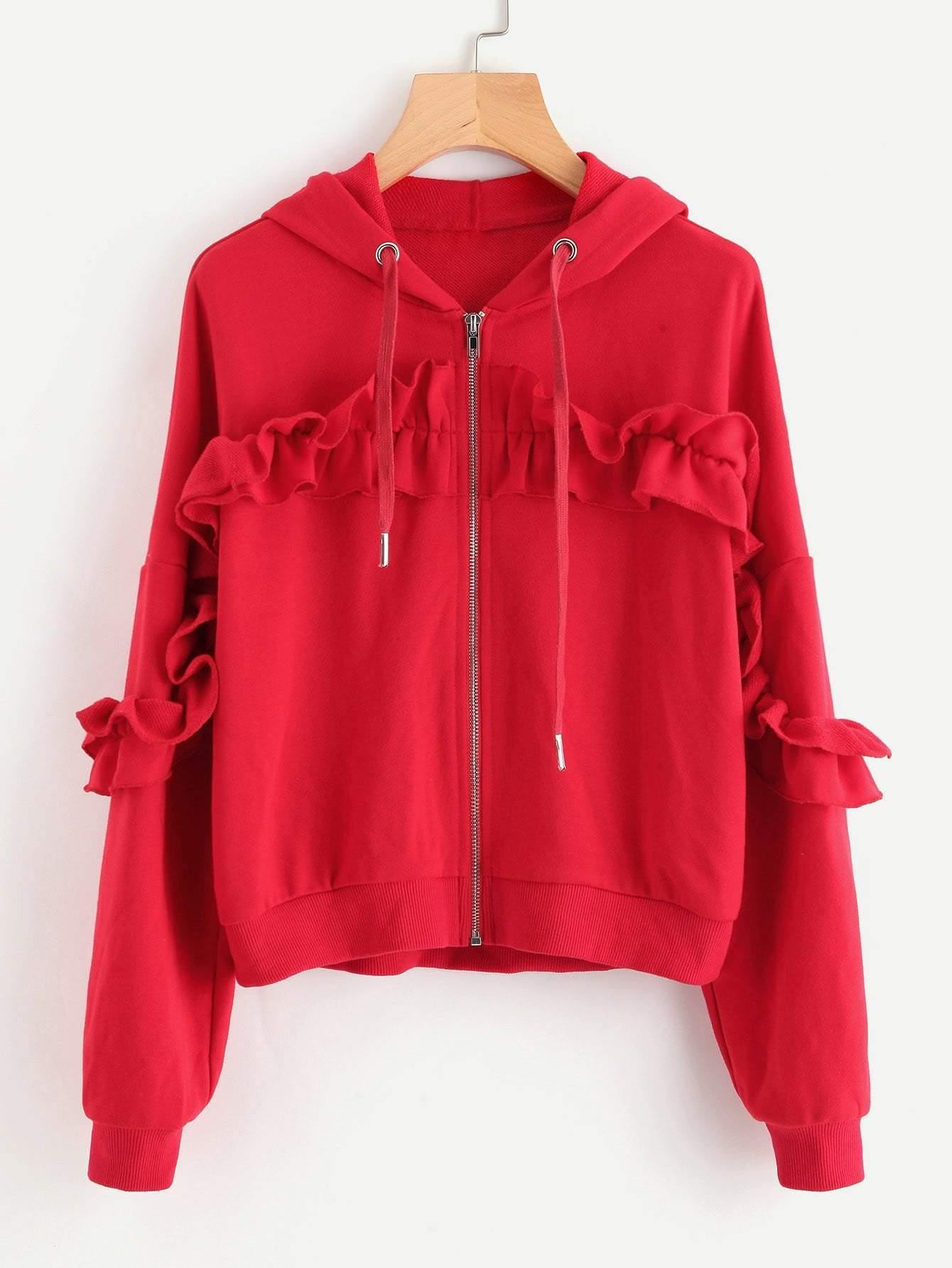 Drop Shoulder Shirred Frill Trim Zip Up Hoodie - zooomberg