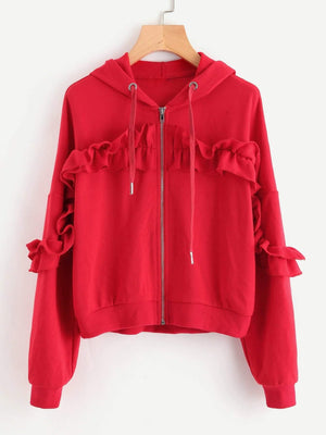 Get Drop Shoulder Shirred Frill Trim Zip Up Hoodie with RS. 1099.00