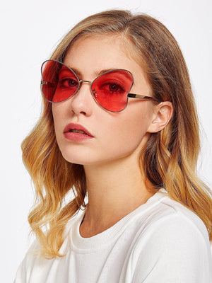 Get Glasses Metal Designer Butterfly Sunglasses with RS. 299.00