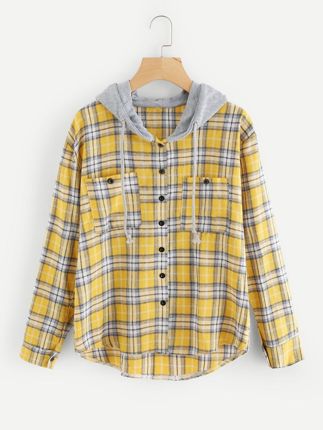 Tartan Hooded Blouse With Chest Pockets - Tops - Zooomberg - Zoomberg