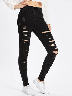 Laddering Slit Raw Cut Detail Jeans