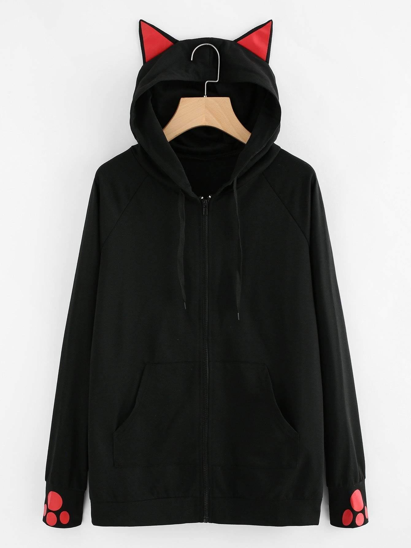 Cat-Ear Hooded Sweatshirt Jacket - zooomberg