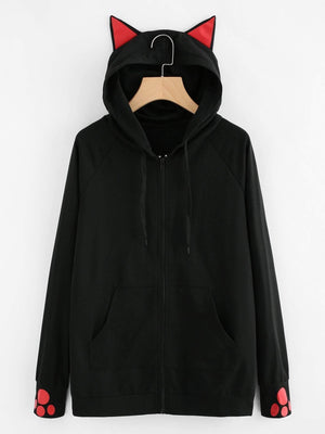 Cat-Ear Hooded Sweatshirt Jacket - Jackets - Zooomberg - Zoomberg