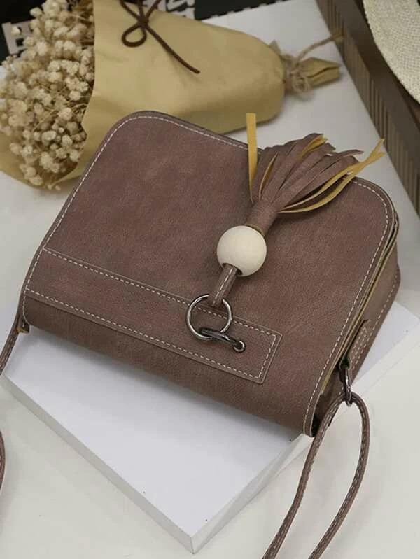 Tassel Detail Faux Leather Crossbody Bag - Bag - Zooomberg - Zoomberg