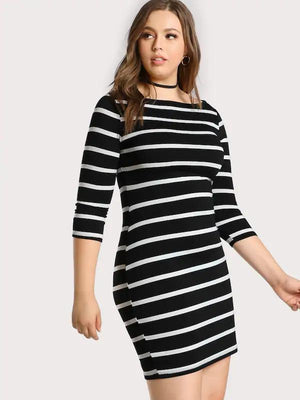 Midi 3/4 Sleeve Striped Tee Dress - Dresses - Zooomberg - Zoomberg