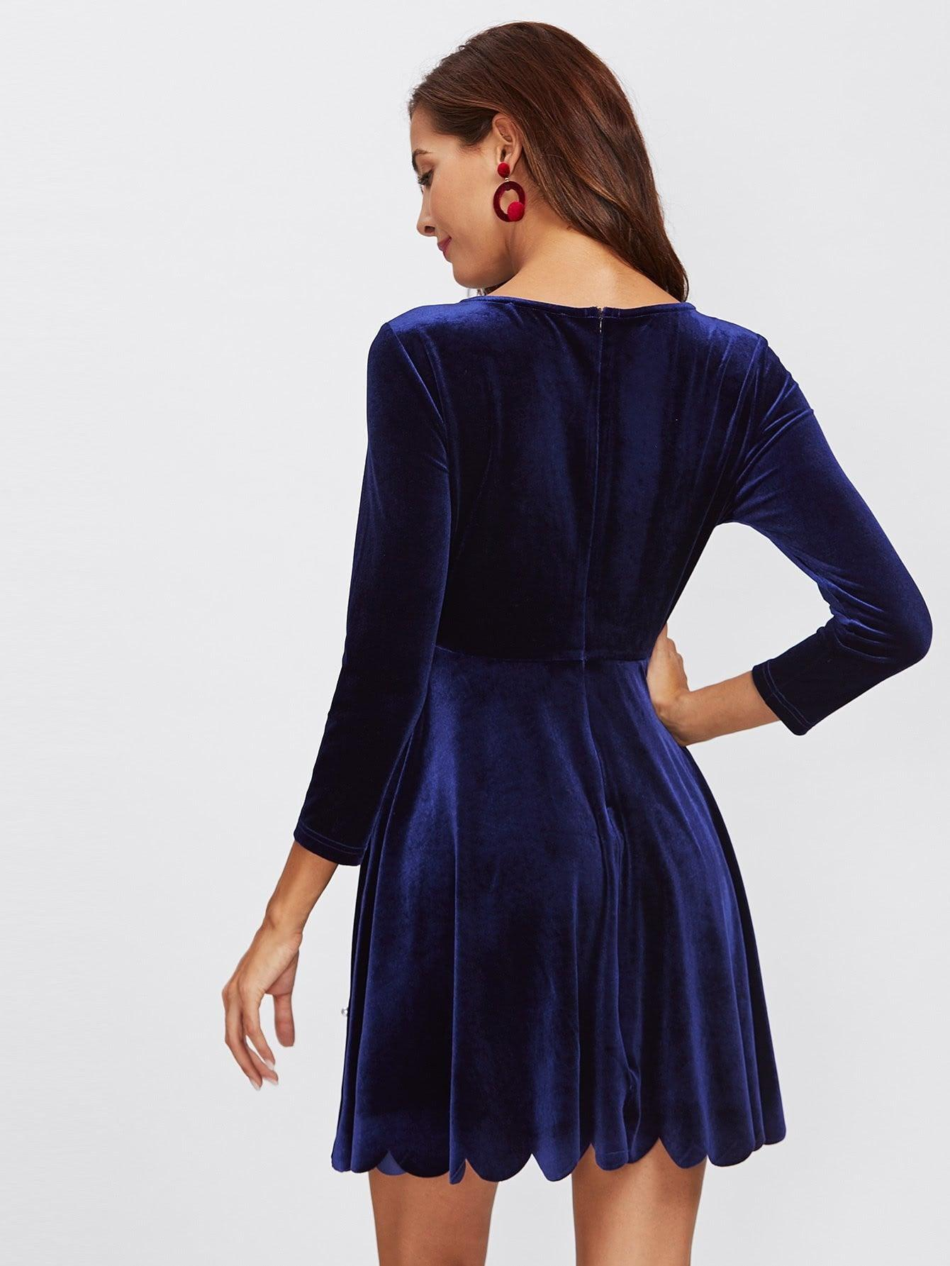 Pearl Beading Scalloped Velvet Dress - zooomberg