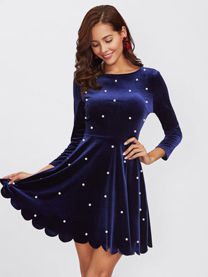 Get Pearl Beading Scalloped Velvet Dress with RS. 1399.00