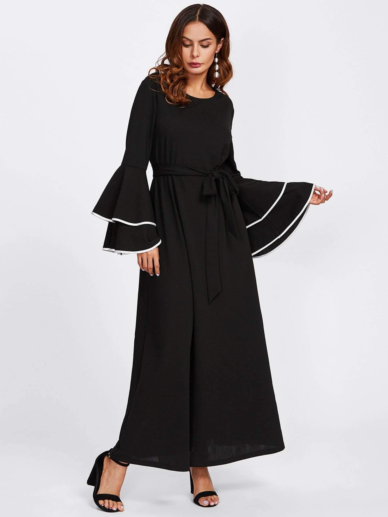 Contrast Binding Layered Sleeve Hijab Evening Dress - zooomberg