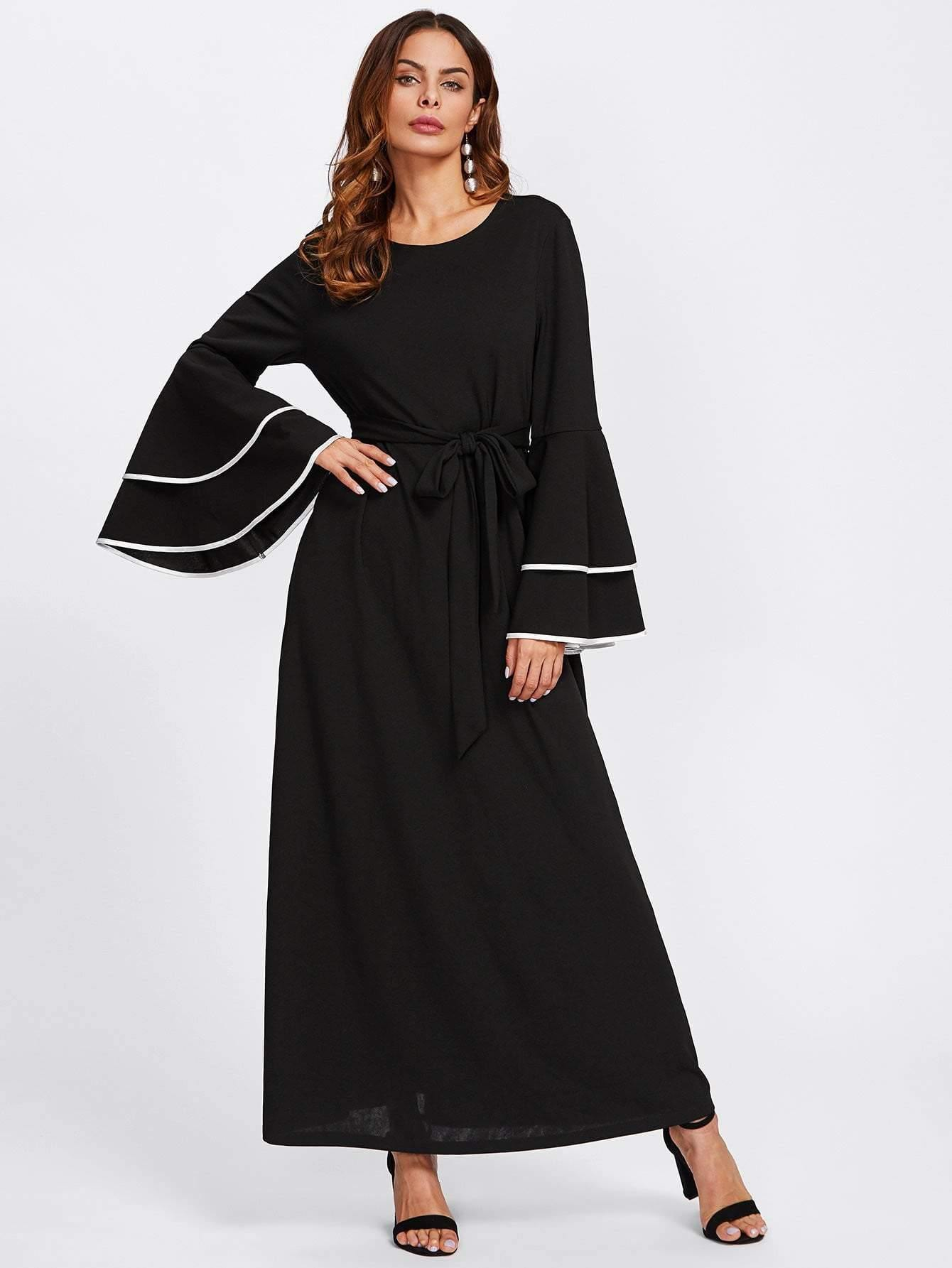 Contrast Binding Layered Sleeve Hijab Evening Dress - Dresses - Zooomberg - Zoomberg