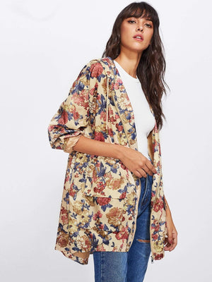 Get Flap Pocket Front Zip Up Floral Hoodie Jacket with RS. 1999.00