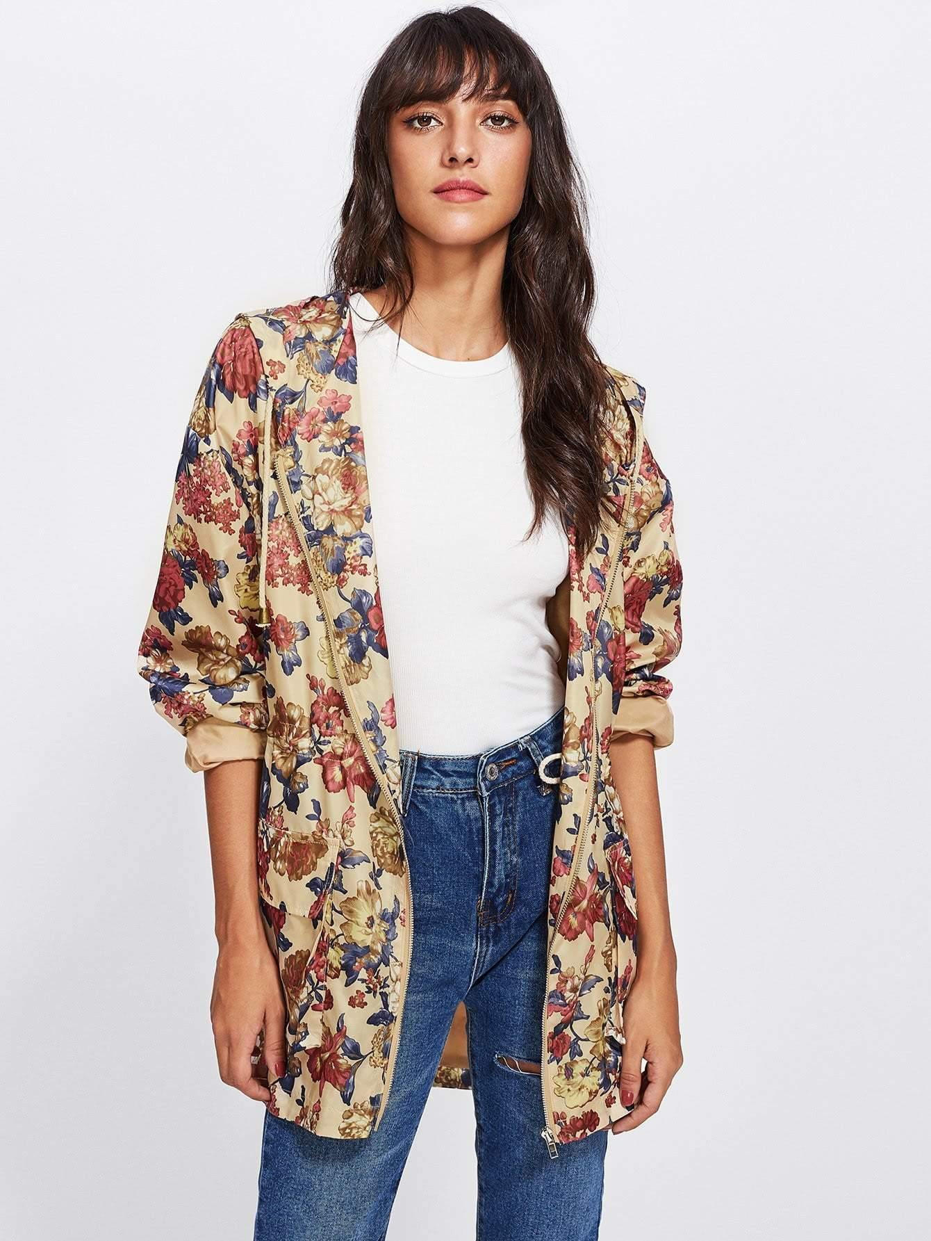 Flap Pocket Front Zip Up Floral Hoodie Jacket