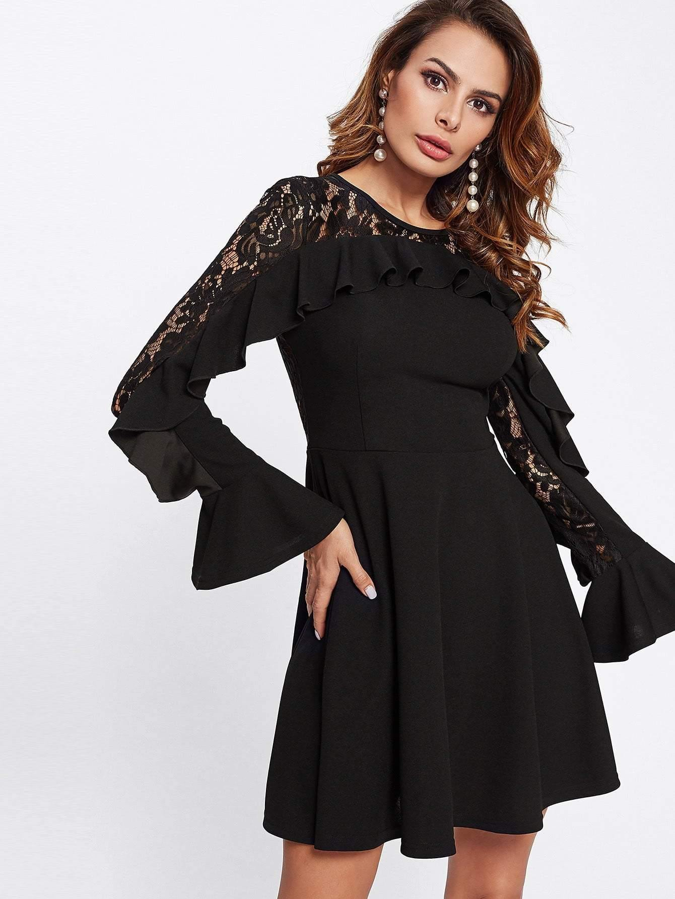 Contrast Lace Flounce Embellished Fitted & Flared Dress - Dresses - Zooomberg - Zoomberg