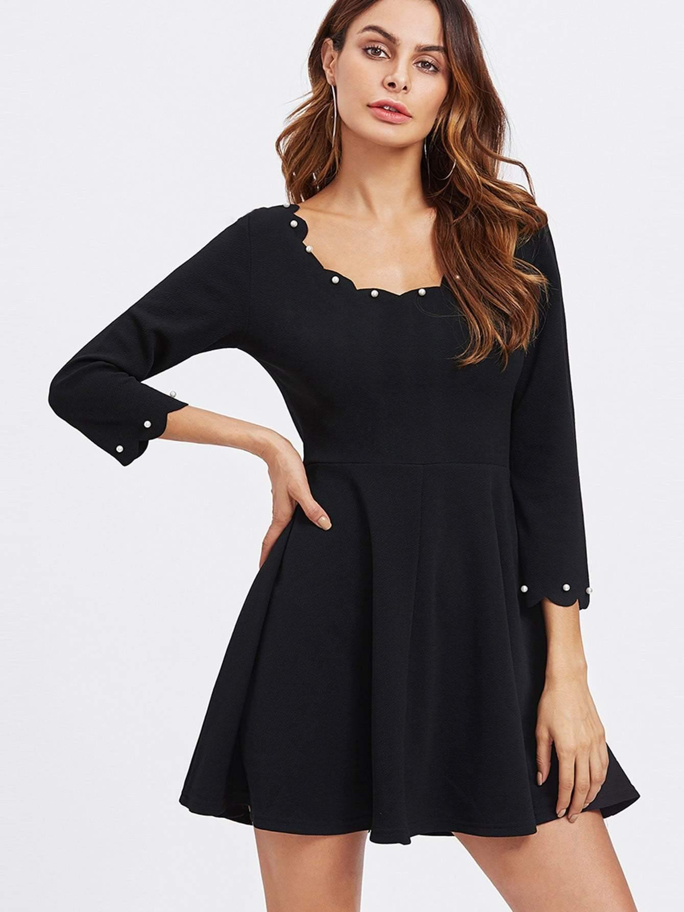 Pearl Detail Scalloped Swing Dress - zooomberg