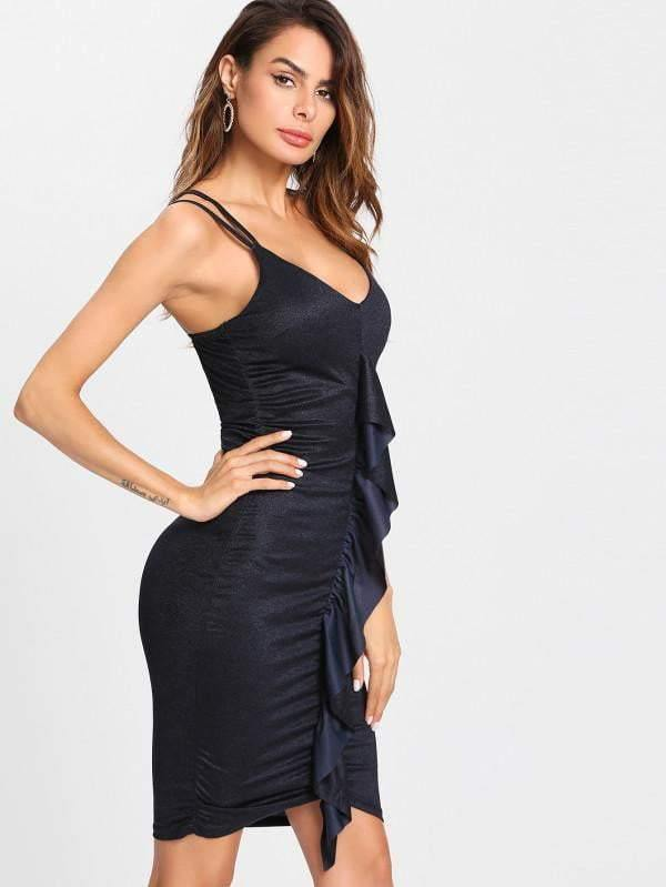 Flounce Embellished Ruched Cami Dress - zooomberg