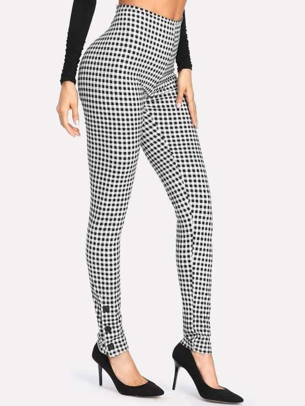 Button Detail High Waist Gingham Pants - Pants - Zooomberg - Zoomberg