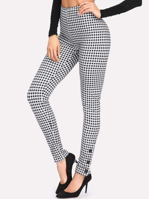 Button Detail High Waist Gingham Pants - zooomberg