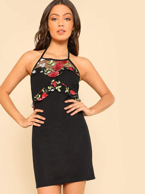 Get Embroidery Applique Mesh Detail Halter Dress with RS. 949.00