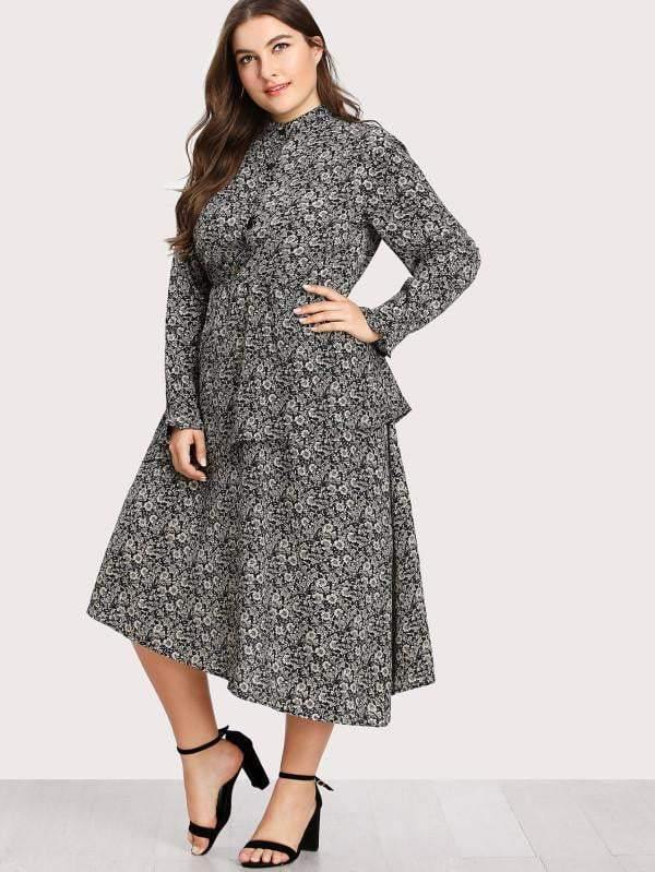Calico Print Tiered Asymmetrical Hem Dress - zooomberg