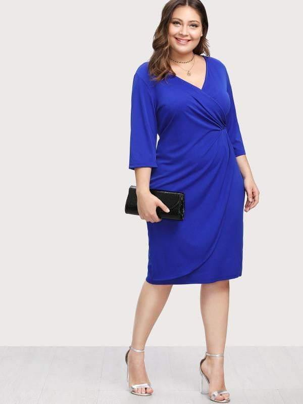 Surplice Wrap Dress - zooomberg