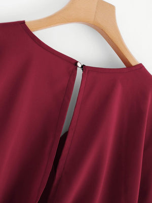 Burgundy Overlap Tie Back Crop Top - Tops - Zooomberg - Zoomberg