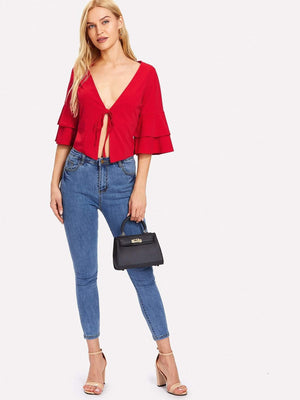 Red Tie Front Bell Sleeve Top - Tops - Zooomberg - Zoomberg