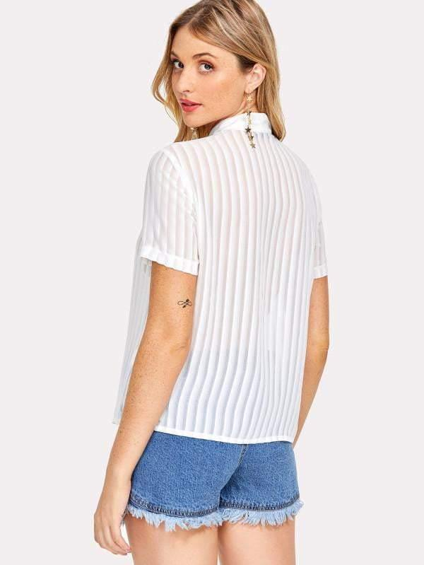 Pure White Tie-Up Blouse - zooomberg