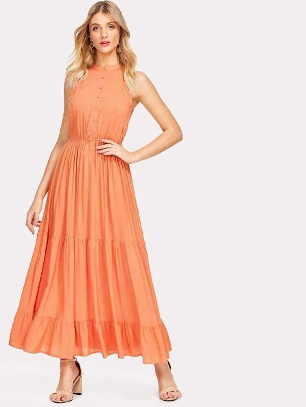 T-Neck Orange Button Up Ruffle Hem Maxi Dress - zooomberg