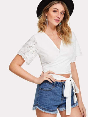 Cream White Wrap Top - Tops - Zooomberg - Zoomberg