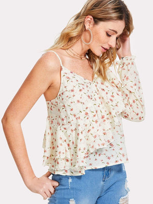 Off White Ruffle Blouse With Pink Flower Print - Tops - Zooomberg - Zoomberg
