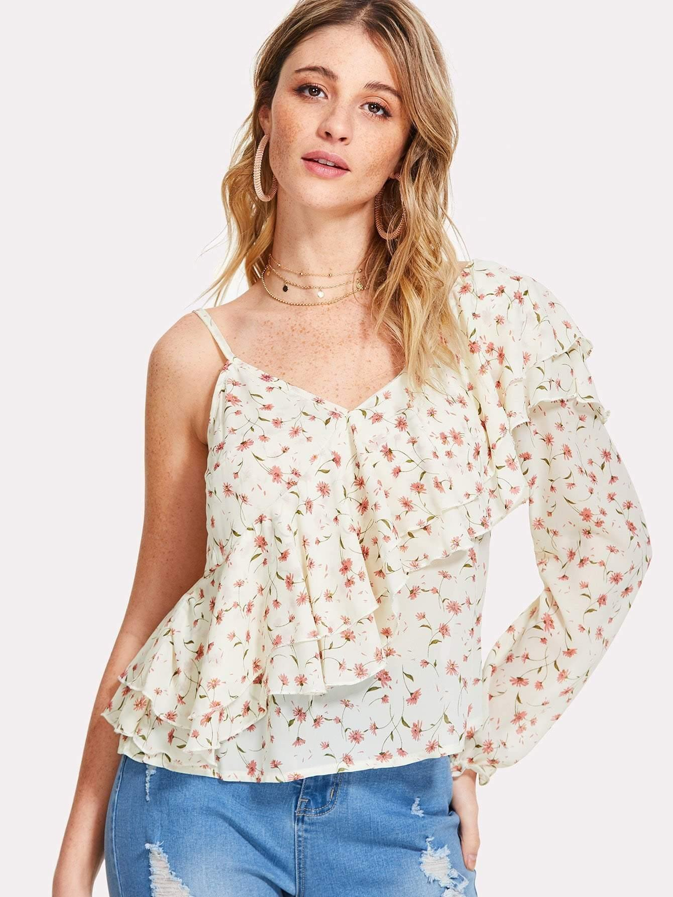 Off White Ruffle Blouse With Pink Flower Print - zooomberg
