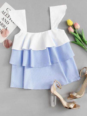 Blue And White Layered Top