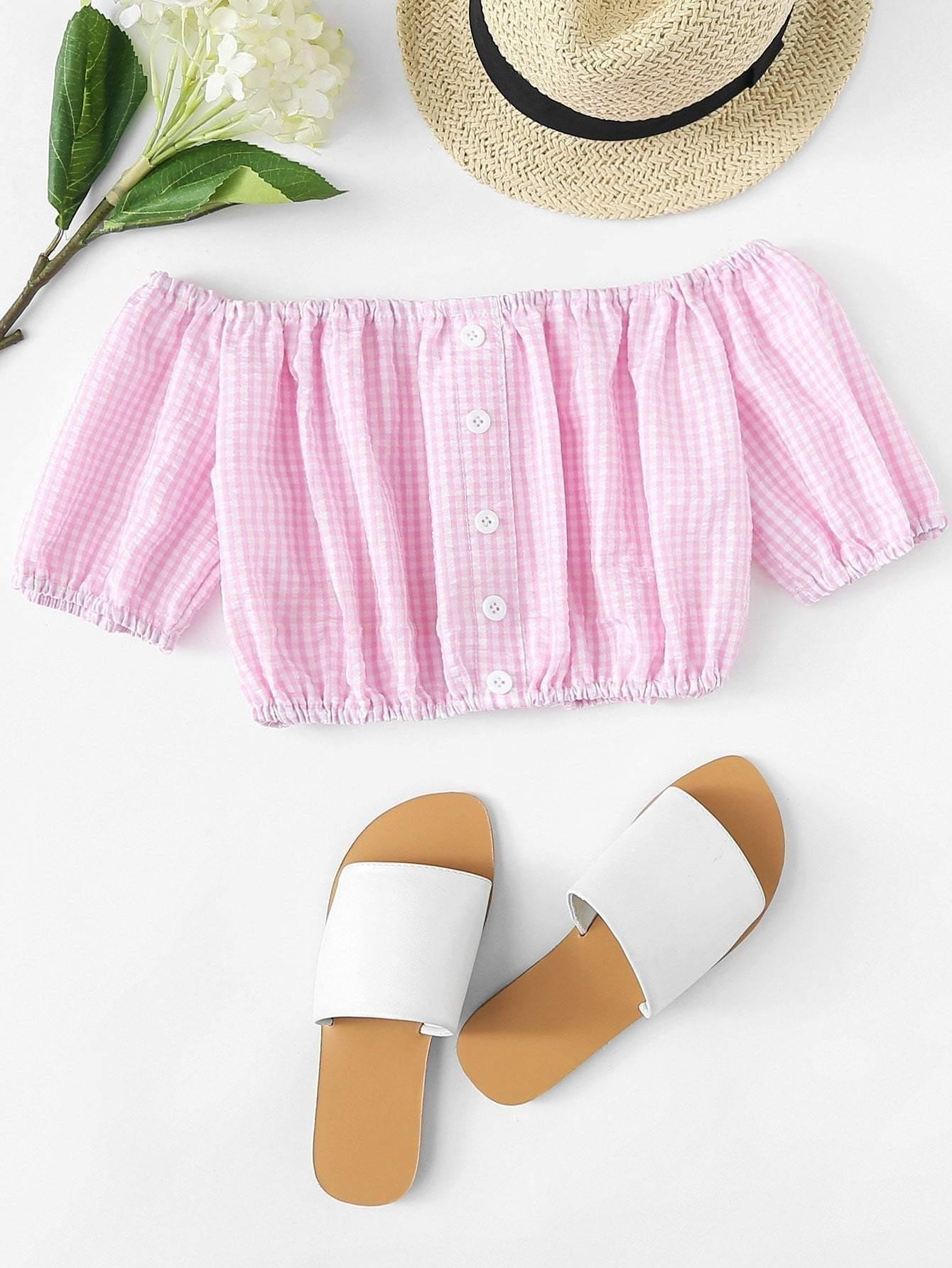 Pink Off Shoulder Checked Crop Top - Tops - Zooomberg - Zoomberg